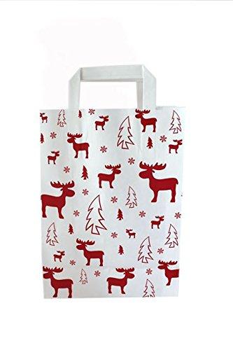 Papiertragetaschen Weihnachten mit Flachhenkel ELCH ROT - Verschiedene Größen und Mengen (18 + 8 x 22 cm, 25 Stück)