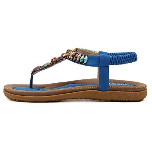 dqq femmes de Bohème perles T Sangle String Sandal Bleu