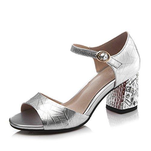 Sommer leder high heels/Großes wort wort abzug zehe in den sandalen D