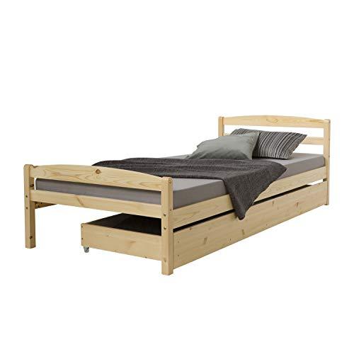 Homestyle4u 889, Holzbett 90x200 mit Lattenrost, Bettkasten Ausziehbar, Natur