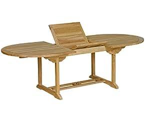 Table de jardin en teck brut : table ovale à rallonge