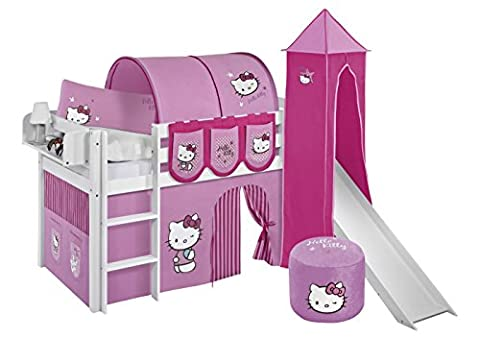 Lilokids Spielbett Jelle Hello Kitty, Hochbett mit Turm, Rutsche und Vorhang Kinderbett, Holz, rosa, 208 x 98 x 113