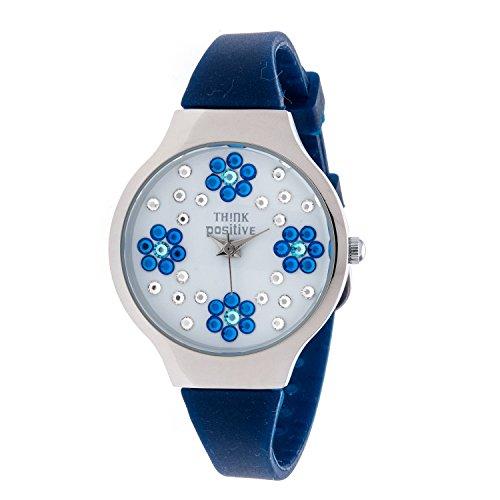 horloge-femme-think-positiver-modele-se-w114a-fleurs-petit-bracelet-en-acier-silicone-couleur-bleu