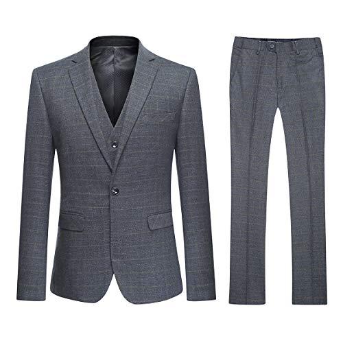 YOUTHUP 3 Teilig Herren Anzug Smoking mit Weste Jacke und Hose für Business Hochzeit und Party EIN oder Zwei Knopf - Weste Knopf