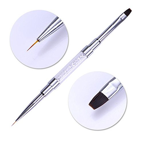 NICOLE DIARY 1 Pc Doppel-ended Liner Pen UV GEL-Anstrich-Bürsten-Nagel-Edge-Reiniger freie Rhinestone-Maniküre-Nagel-Kunst-Werkzeug-Handgriff (French-tip Shellac)