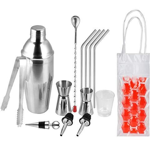 Cocktail Shaker Set,Adkwse Premium Edelstahl Bar Kit mit Kühltasche und Edelstahl Strohhalme