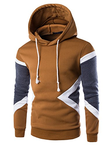 Glestore Sweat-shirt Capuche et Slim Fit Hoodies Homme Col rond Manches Longues Marron L