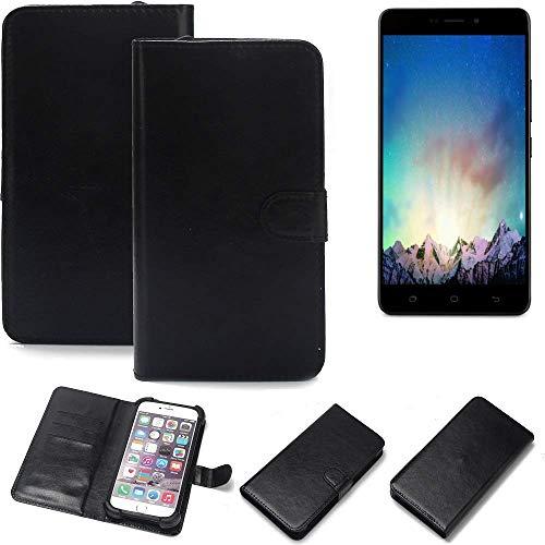 K-S-Trade® Wallet Case Handyhülle Für Medion Life X5520 Schutz Hülle Smartphone Flip Cover Flipstyle Tasche Schutzhülle Flipcover Slim Bumper Schwarz, 1x