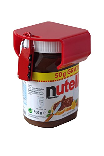 Image of Nutella lock chocosafe® Nutella Schloss rot, mit rotem Vorhangschloss & individueller Gravur