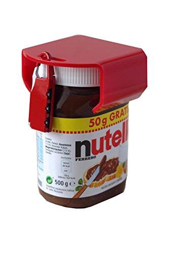 Image of Nutella lock chocosafe® Nutella Schloss rot, mit rotem Vorhangschloss & individueller Gravur