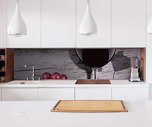 Aufkleber Küchenrückwand Wein Glas Trauben Essen Küche Vintage Kitchen Küche Folie Fliesen Möbelfolie Spritzschutz 22?1628, Höhe x Länge:60cm x 60cm
