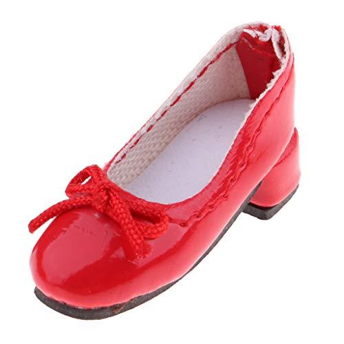 D DOLITY Modische Puppe Schuhe PU Lederschuhe Damen Pumps mit mittlerer Ferse Für 1/6 Blythe Puppe Bekleidung Zubehör - rot -