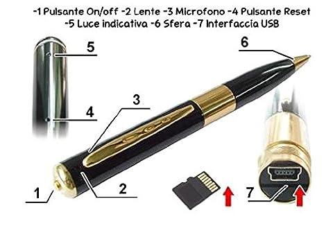 CW13 2in1 Kugelschreiber & Kamera Mit Mikrofon | Spionagekamera | 960p HD Video Bei 30 FPS | Micro SD Speicher | Stift & Spy Cam Mit Eingebautem Akku
