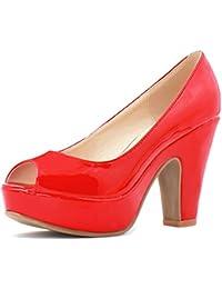 Allegra K Mujer Zapatos de Tacón Punta Abierta Grueso Plataforma Charol Zapatillas