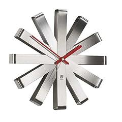 Idea Regalo - Umbra Ribbon 118070-590 Orologio da Parete in Acciaio Inox e Nichel, Diametro 30 cm