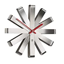 Umbra Ribbon Brushed Steel Wall Clock, 30.48 cm- Nickel