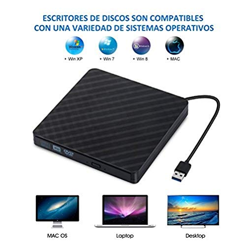 Grabadora CD/DVD Lector de CD Externa Portátil con USB 3.0, 2017 Sonoka Unidad Óptica Externa de CD/DVD-RW Ultra Silm CD Player para Windows/Mac OS Apple/iMac/Macbook Air/PC/Notebook