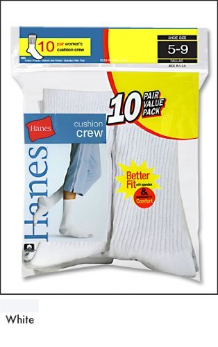 Hanes Women`s Cushioned Crew Athletic Socks - Best-Seller!
