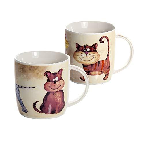 Conjunto 2 Tazas de Desayuno Originales de café té con decoración de Perros y Gatos para microondas, Regalo para los Amantes de los Animales Perro de Gato Dog and Cat Mugs Cups Gift