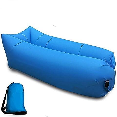 Aufblasbares Sofa tragbarer aufblasbarer Sitzsack mit integriertem Kissen, wasserdichtes aufblasbare couch Outdoor Sofa für Camping den Strand  zum Fischen (Saphirblau)
