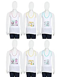 Gumber White Cotton Sleeveless Vests Pack of 6 for boys