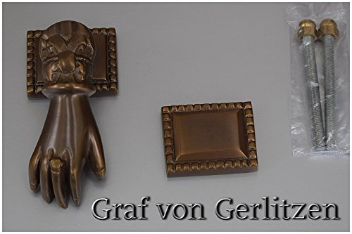 Graf von Gerlitzen Antik Messing Tür Klopfer Türbeschlag Türklopfer Hand 105424A