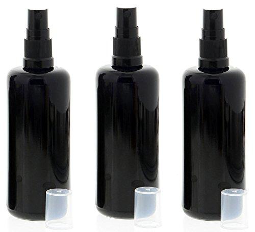 Violettglas Sprühflasche, stark lichtschützend, Miron Glas-Flasche mit Kosmetex schwarzen Pump-Zerstäuber, 3 x 100 ml