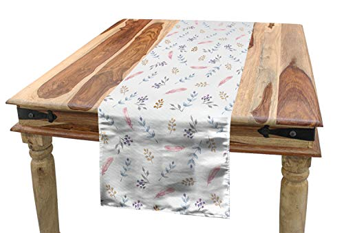 hläufer, Blühende Laubes Design, Esszimmer Küche Rechteckiger Dekorativer Tischläufer, 40 x 225 cm, Mehrfarbig ()