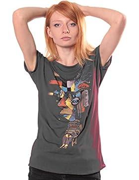Camiseta estampada Abstract - Ropa urbana de chica algodón 100%, serigrafía original de Plazmalab