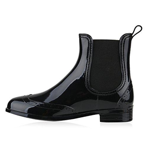 Damen Stiefeletten Chelsea Boots Lack Schnallen Gummistiefel Schuhe Schwarz
