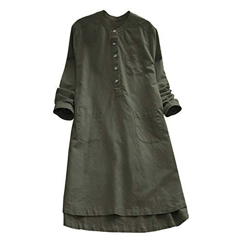 ESAILQ Frau Retro-Langarm-beiläufige Lose Knopf-Oberseiten-Blusen-Hemd(M,Armeegrün)