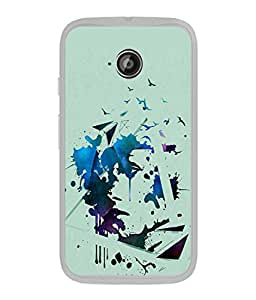 PrintVisa Designer Back Case Cover for Moto E (Spray painting colors with birds)