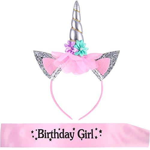 Diadema de Unicornio con Banda de Birthday Girl para Materiales de Fiesta de Cumpleaños de Niñas (Estilo 2)