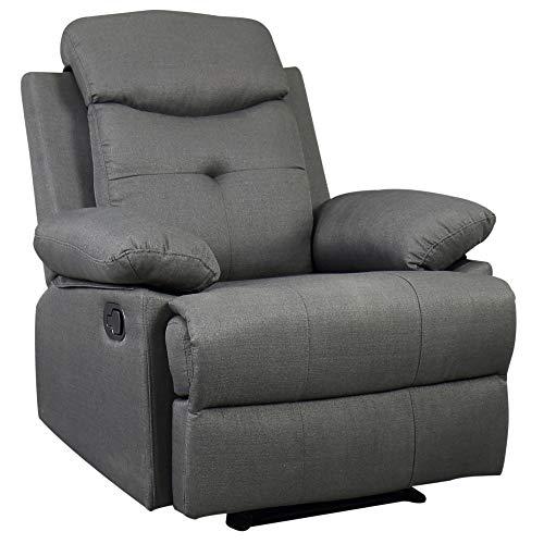 HOMCOM Fernsehsessel TV Sessel Relaxsessel Liegesessel Aufstehsessel 180°-Liegefunktion Leinen dunkelgrau
