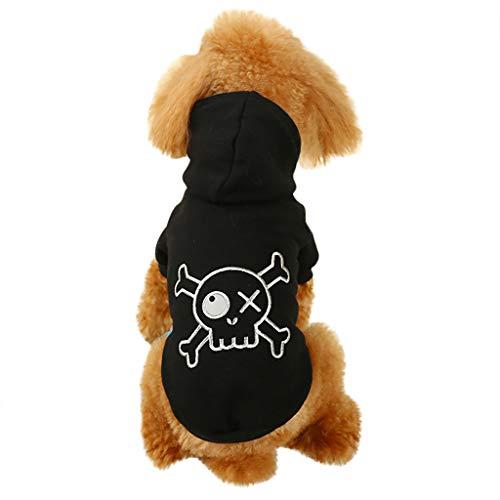 Kostüm Pelzige Schwarze Katze - BBring Totenkopf Skull Muster Hoodie mit Kapuze für Katzen Hunde, Kurzarm Stricken Shirt mit Knopfleiste dicken Herbst Winter Warm Haustier Kleidung für Hündchen Kätzchen (XL, Schwarz)