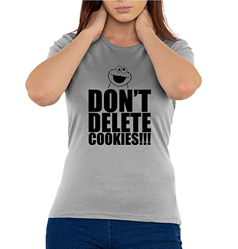 Don't Delete Cookies Funny Cookie Monster Graphic Women's T-Shirt Gray L - Tee-ring-cookies