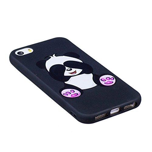 Coque iPhone 5S, iPhone SE Coque en Silicone, SainCat Ultra Slim TPU Silicone Case Cover pour iPhone 5/5S/SE, Silicone 3D Conception Coque Anti-Scratch Soft Gel Cover Coque Caoutchouc Fleur Transparen Panda Géant