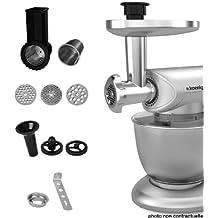 H.Koenig AC8 - Juego de accesorios para robot de cocina multifunción KM80S, color plateado