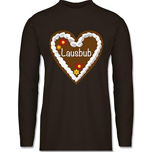 Oktoberfest Herren - Lebkuchenherz Lausbub - Longsleeve / langärmeliges T-Shirt für Herren Braun