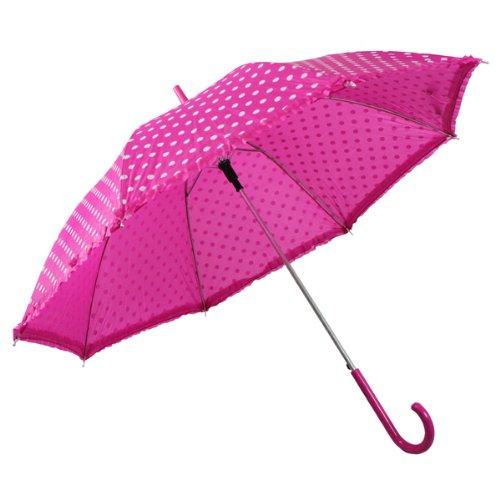 NEU Regenschirm pink mit weißen Punkten