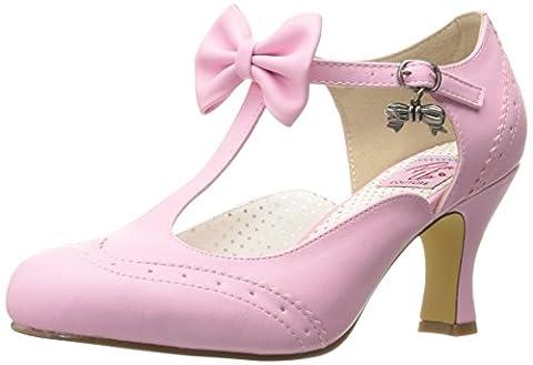 Pinup Couture Damen Flapper-11 T-Bar, Pink (Pink Faux Leather), 39 EU