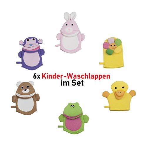 6X Waschlappen Waschhandschuh Kinder Baby Tiere Bad Dusche Pflege Blume AFFE Ente