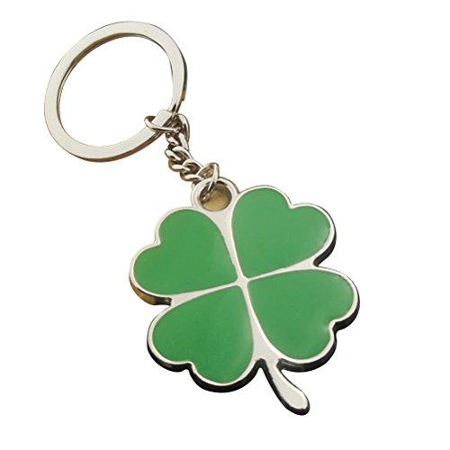 YeahiBaby Fou Leaf Clover Schlüsselanhänger Metall Schlüsselanhänger Coole Auto Schlüsselanhänger Handtasche Tasche Anhänger Dekoration Kreatives Geschenk Keyfob -