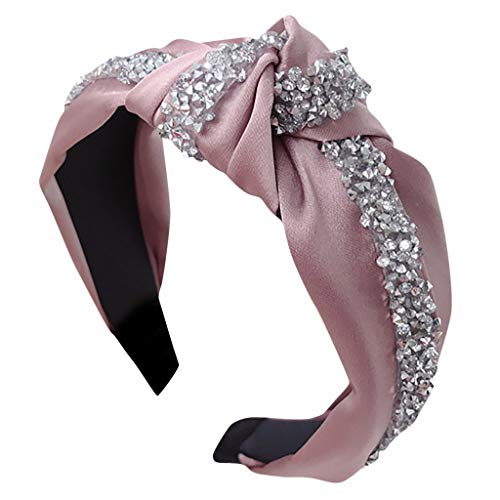 MIRRAY Mode Bogen Knoten Haarband Damen Breit Frauen Haar Kopf Hoop Einfache SüßE MäDchen Elastisches Haar Stirnband Rosa