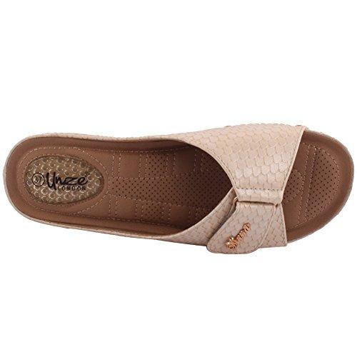 Unze Ciat' cinturino in velcro delle signore delle donne comodo Open Toe Slip On Bassa tacco casuale dei pistoni calza il formato 3-8 Beige