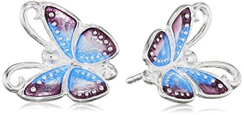 Heartbreaker Damen- Ohrstecker Flying purple Ring 925 Silber Brandlack- LD FP 21 (Kostenloser Versand Auf Der Zunge Ringe)