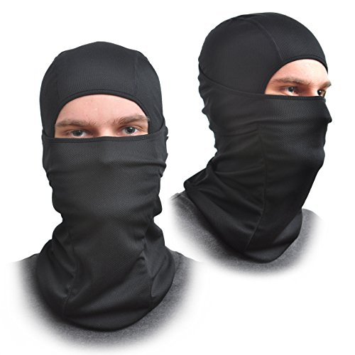[2 Pack] Balaclava Face Mask - One Size Fits All Elastic Fabric - Protects From Wind, Sun, Dust - Ideal for Motorcycle, Face Mask for Ski, Cycling, Running or Hiking - Summer or Winter Gear