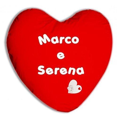 - senza marca/generico - cuscino personalizzato scritta nomi testo dedica completo cuore rosso idea regalo san valentino