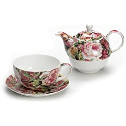 Maxwell & Williams S34025 Royal Old England Teeservice für 1 Person, Teekanne, Teetasse, Untertasse, Motiv: Wildrose, in Geschenkbox, Porzellan