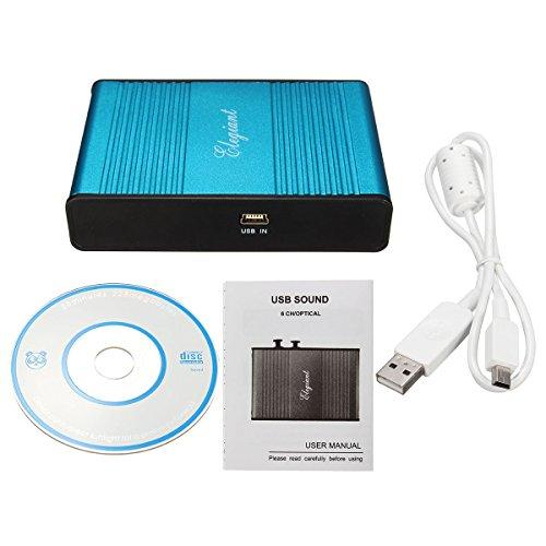ELEGIANT Externe USB 6 Kanal 5.1 External Audio Soundkarte optisch Audio S/PDIF Soundkarte Optical Extern Sound Box Card für Notebook Laptop PC